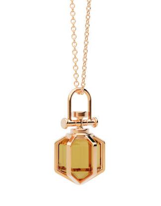 Rebecca Li mini 18k Rose Gold Orange Citrine Amulet Pendant