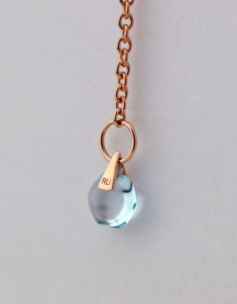 Rebecca Li 18k Solid Rose Gold Chain Healing Blue Topaz 2