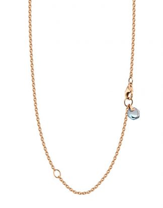 Rebecca Li 18k Solid Rose Gold Chain Healing Blue Topaz