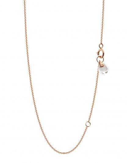 18k solid rose gold crystal link chain rock crystal Rebecca Li