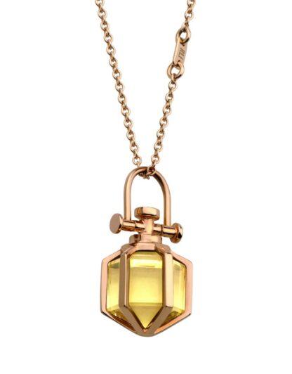 Rebecca Li Mini Six Senses Talisman Solid Rose Gold Citrine
