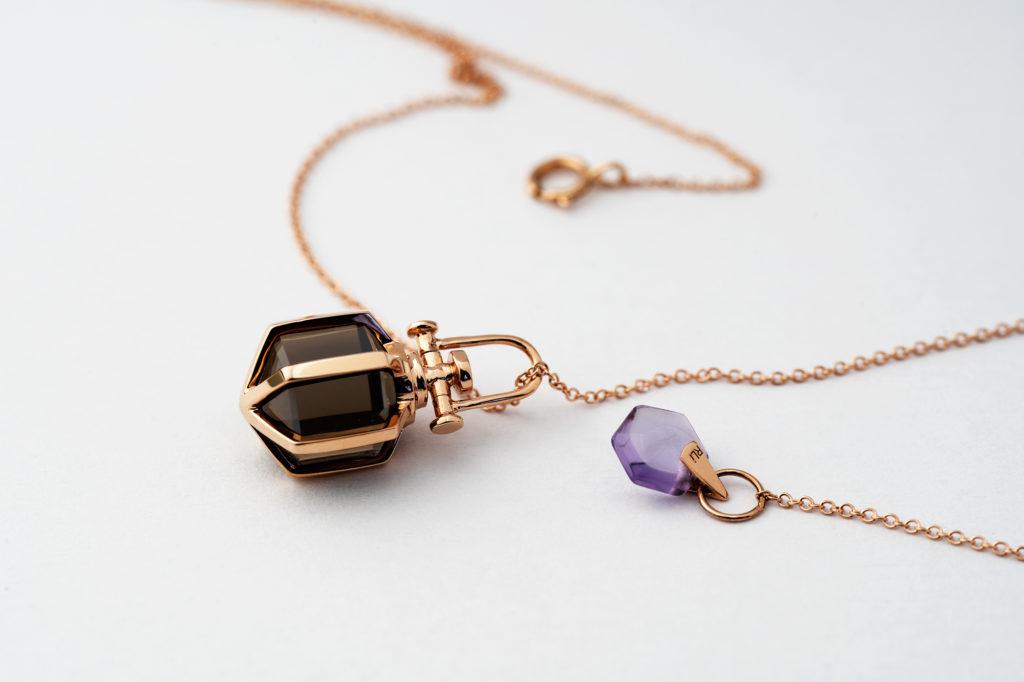 Mini Six Senses Talisman Pendant 18k Rose Gold, Smoky Quartz, Rebecca Li