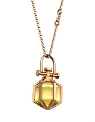 Rebecca Li 18k Rose Gold Mini Six Senses Talisman Pendant with Natural Citrine
