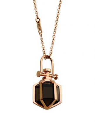 Mini Six Senses Talisman Pendant 18k Rose Gold, Smoky Quartz, Rebecca Li