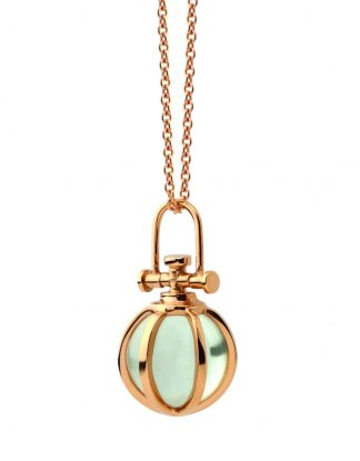 Rebecca Li Mini Crystal Ball Talisman Pendant with Natural Green Amethyst, 18k Rose Gold