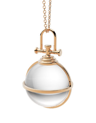 Rebecca Li Crystal Ball Talisman, 18k Rose Gold, Rock Crystal
