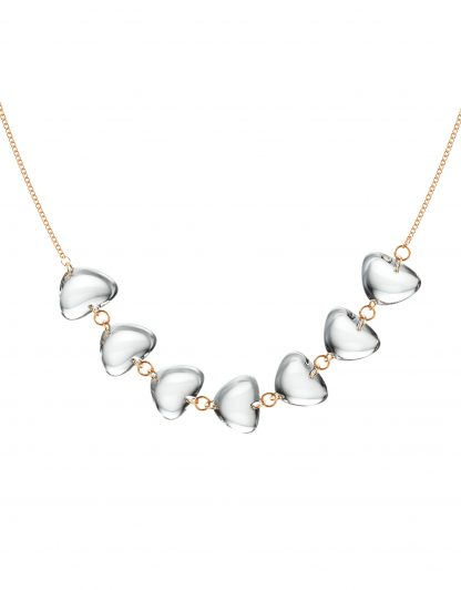 Rebecca Li Crystal Link Necklace with Clear Rock Crystal