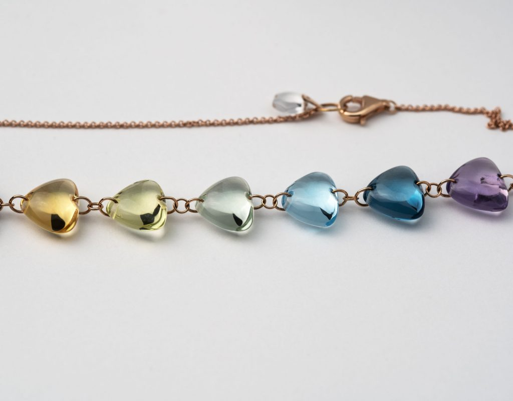 Rebecca Li Rainbow Gemstone Necklace, 18k Rose Gold