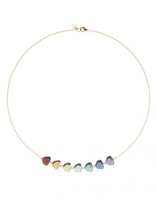 7 Rainbow Gemstone Necklace Rebecca Li 18k Rose Gold
