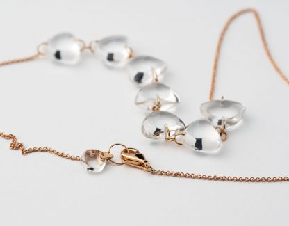 Rebecca Li Crystal Link Necklace with 7 Natural Rock Crystal Luck Rock