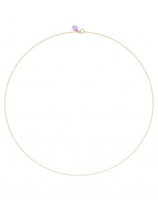 18k Solid Rose Gold Dainty Chain with Amethyst Charm, Crystal Link, Rebecca Li