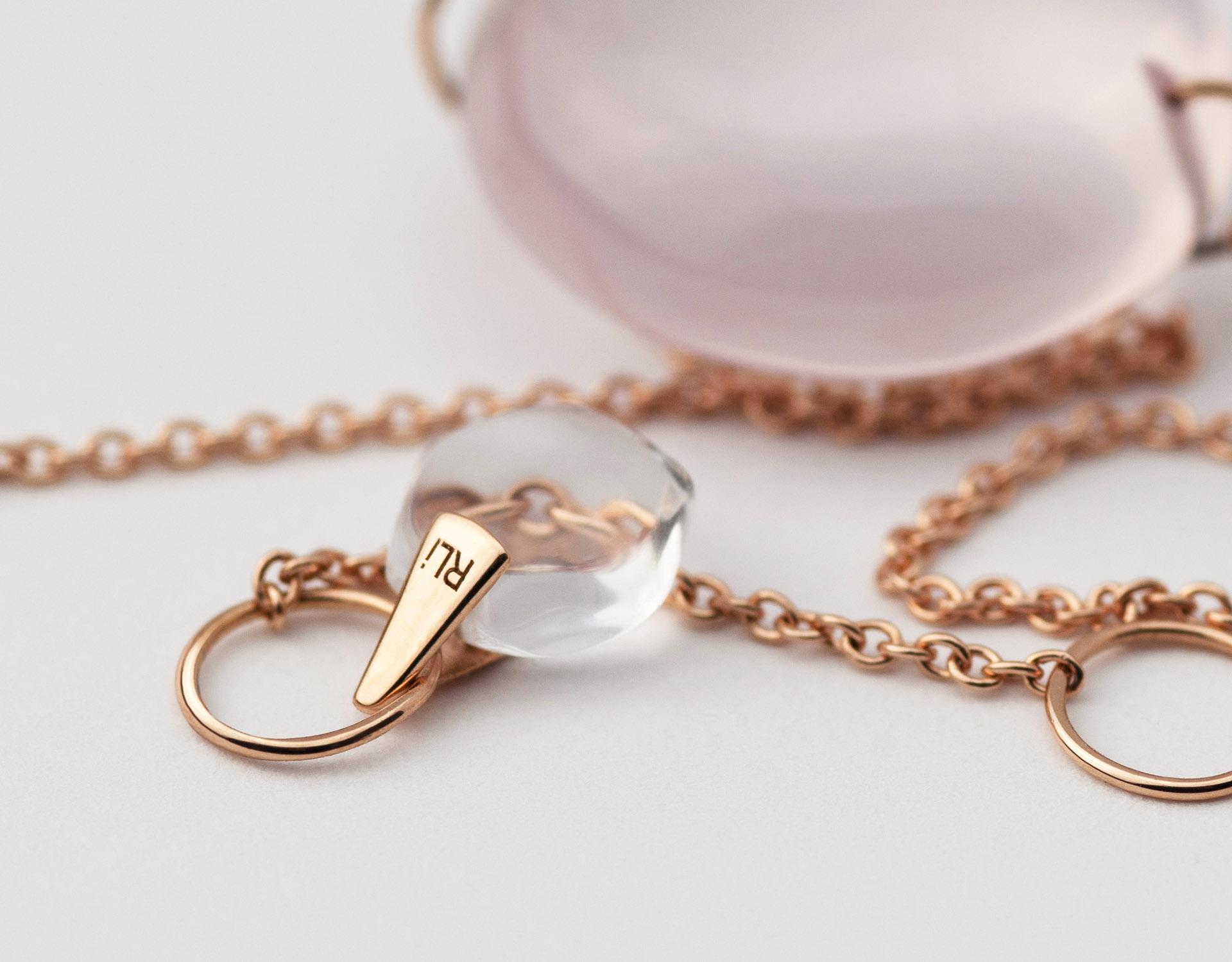 Rebecca Li Crystal Link Bracelet Rose Quartz