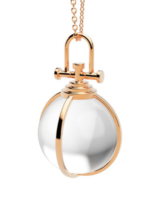 Rebecca Li Crystal Orb 18k Rose gold Talisman Pendant with Rock Crystal