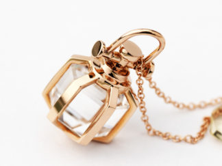 Mini Rebecca Li Six Senses Talisman Pendant with Rock Crystal 18k Rose Gold