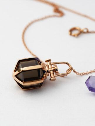 Rebecca Li Mini Six Senses Talisman Pendant, 18K Rose Gold Smoky Quartz