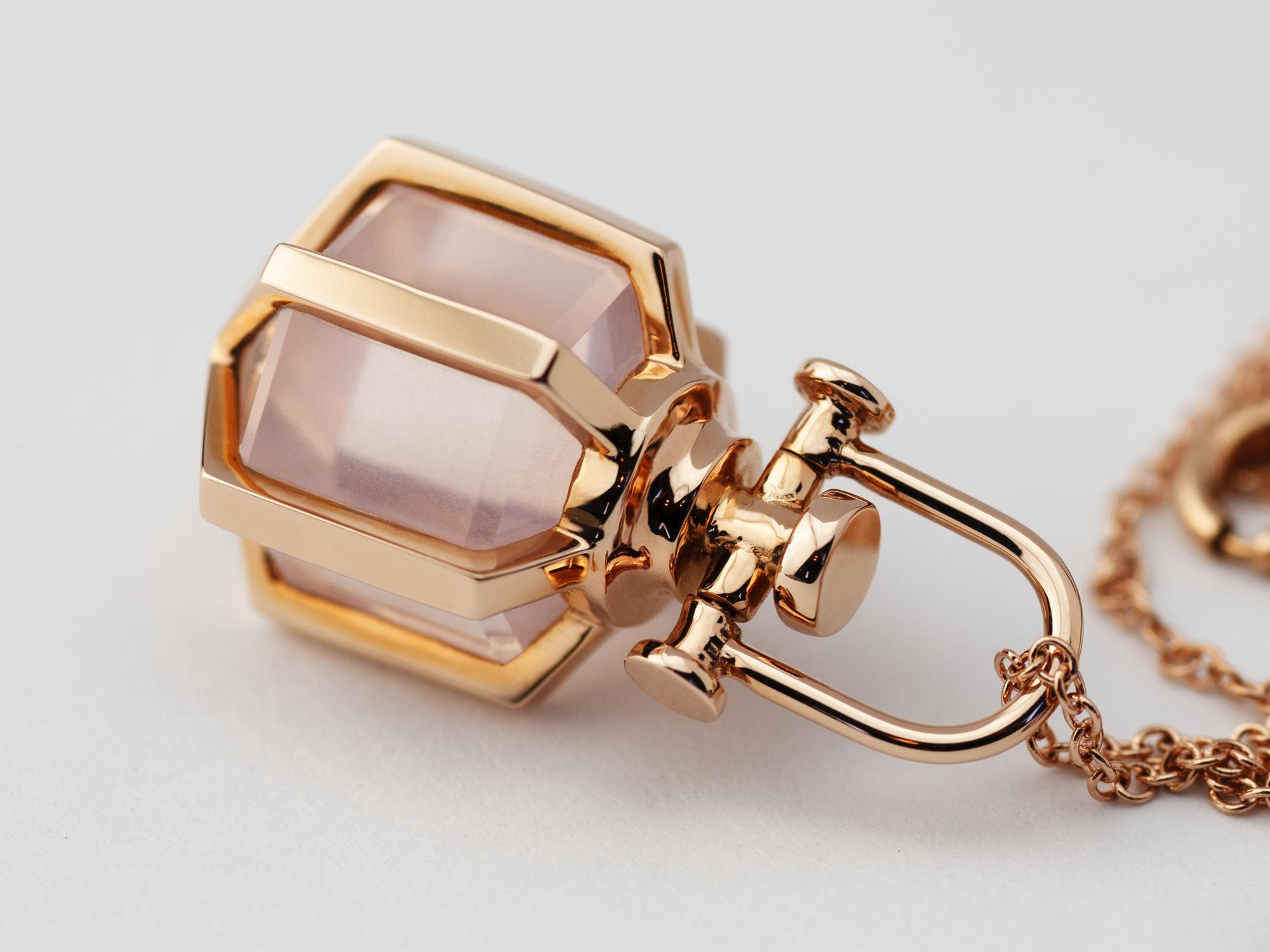 Rebecca Li Mini Six Senses Talisman Pendant Necklace 18k Rose Gold Rose Quartz