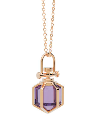 Rebecca Li Mini Six Senses Talisman Pendant Necklace 18k Rose Gold Amethyst