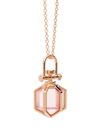 Rebecca Li Mini Six Senses Talisman Pendant Necklace 18k Rose Gold Rose Quartz