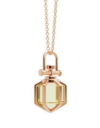 Six Senses Talisman Mini Pendant Necklace with Lemon Citrine, 18k Rose Gold