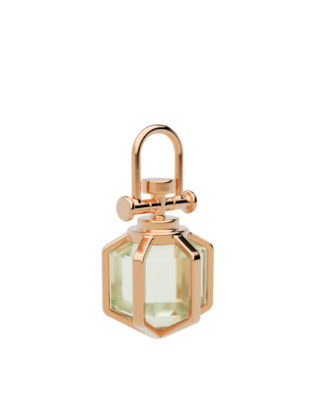 Rebecca Li Mini Six Senses Talisman 18k Rose Gold Pendant, with Green Amethyst, Pendant Charm Only
