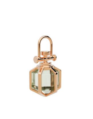 Rebecca Li Mini six senses talisman pendant with natural green amethyst.