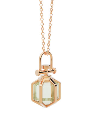 Rebecca Li Mini Six Senses Talisman Amulet Pendant Necklace, 18k rose gold, natural green amethyst