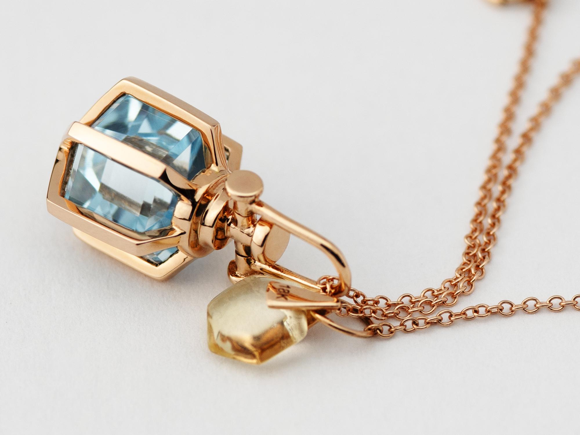 Rebecca Li Six Senses Talisman Pendant Necklace Mini, 18k Rose Gold with Natural Blue Topaz