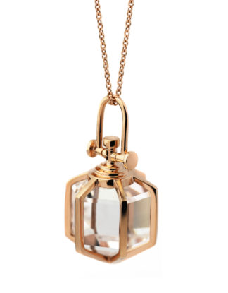 Rebecca Li Signature Six Senses Talisman, Medium, Rose Gold, Rock Crystal