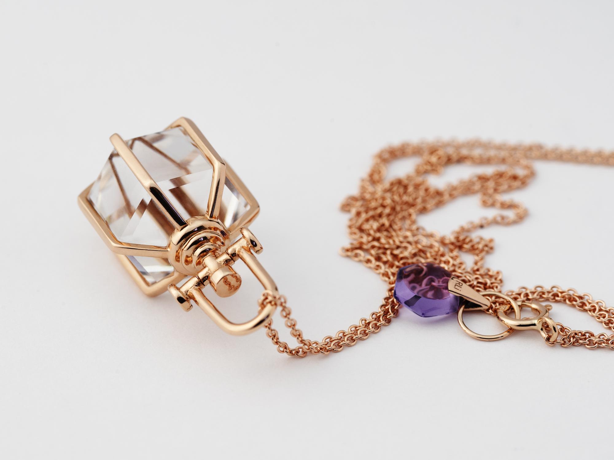 Rebecca Li Signature Six Senses Talisman, Medium, Rose Gold, Rock Crystal
