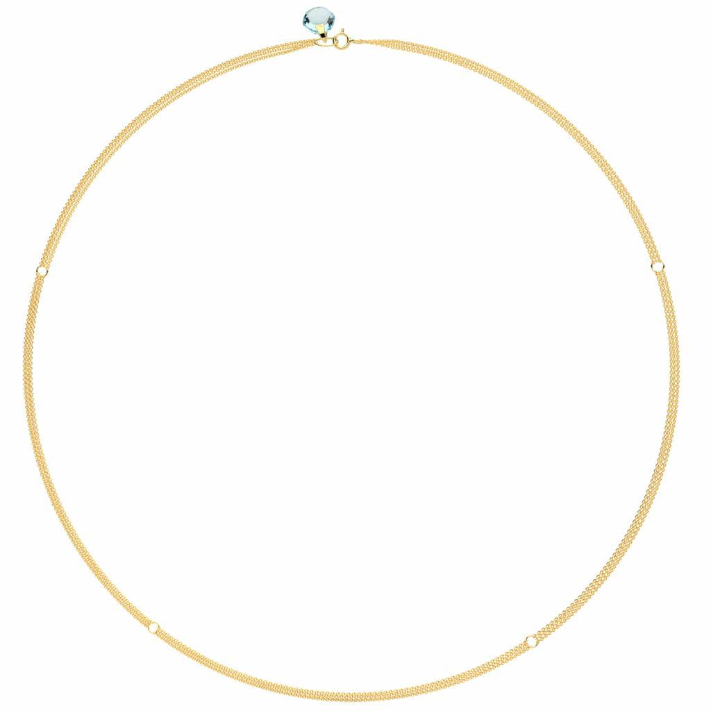 Rebecca Li Signature 18k Yellow Gold Three Strand Chain with Blue Topaz