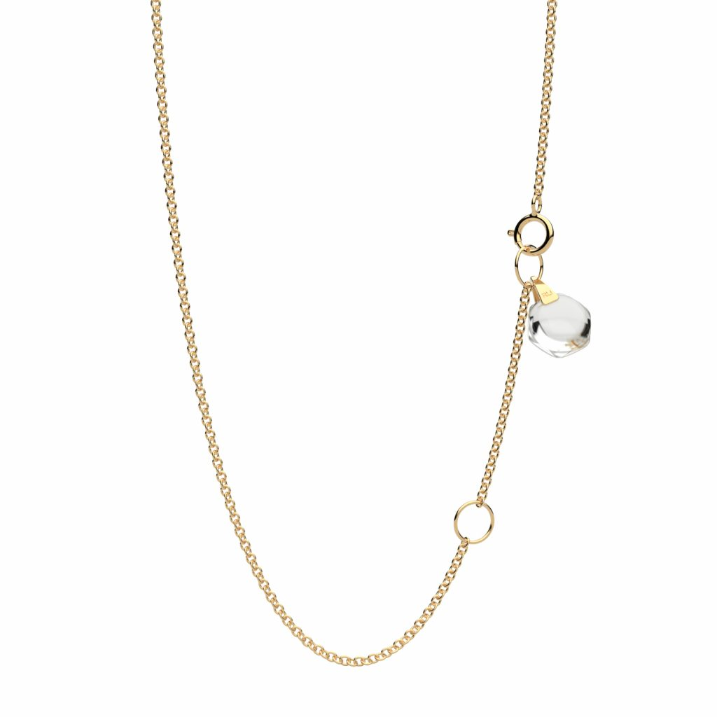 Rebecca Li Signature 18k Yellow Gold Chain with Natural Rock Crystal