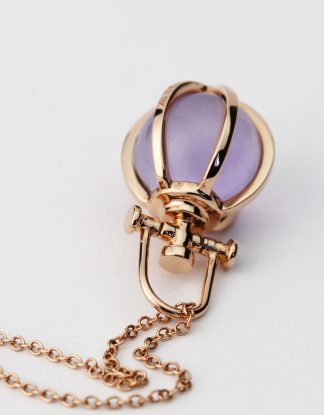 Rebecca Li Mini Six Senses Talisman Pendant Necklace, 18k Rose Gold, Natural Amethyst