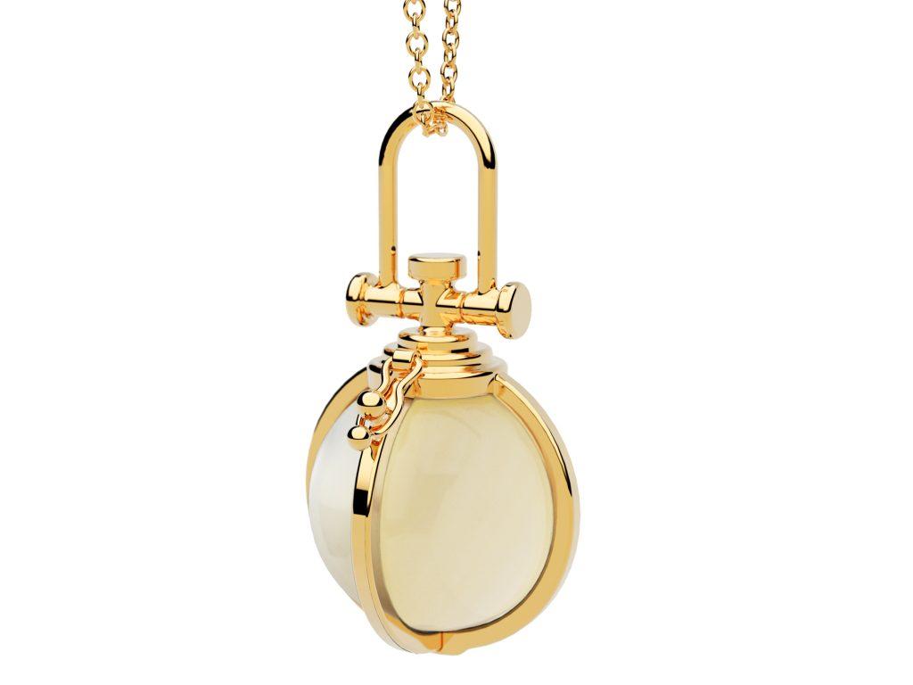 Medium Rebecca Li Orb Talisman Pendant 18k Yellow Gold, Mother Of Pearl