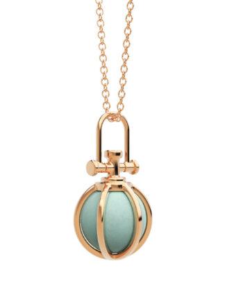 Rebecca Li mini crystal orb talisman, 18k rose gold, Amazonite