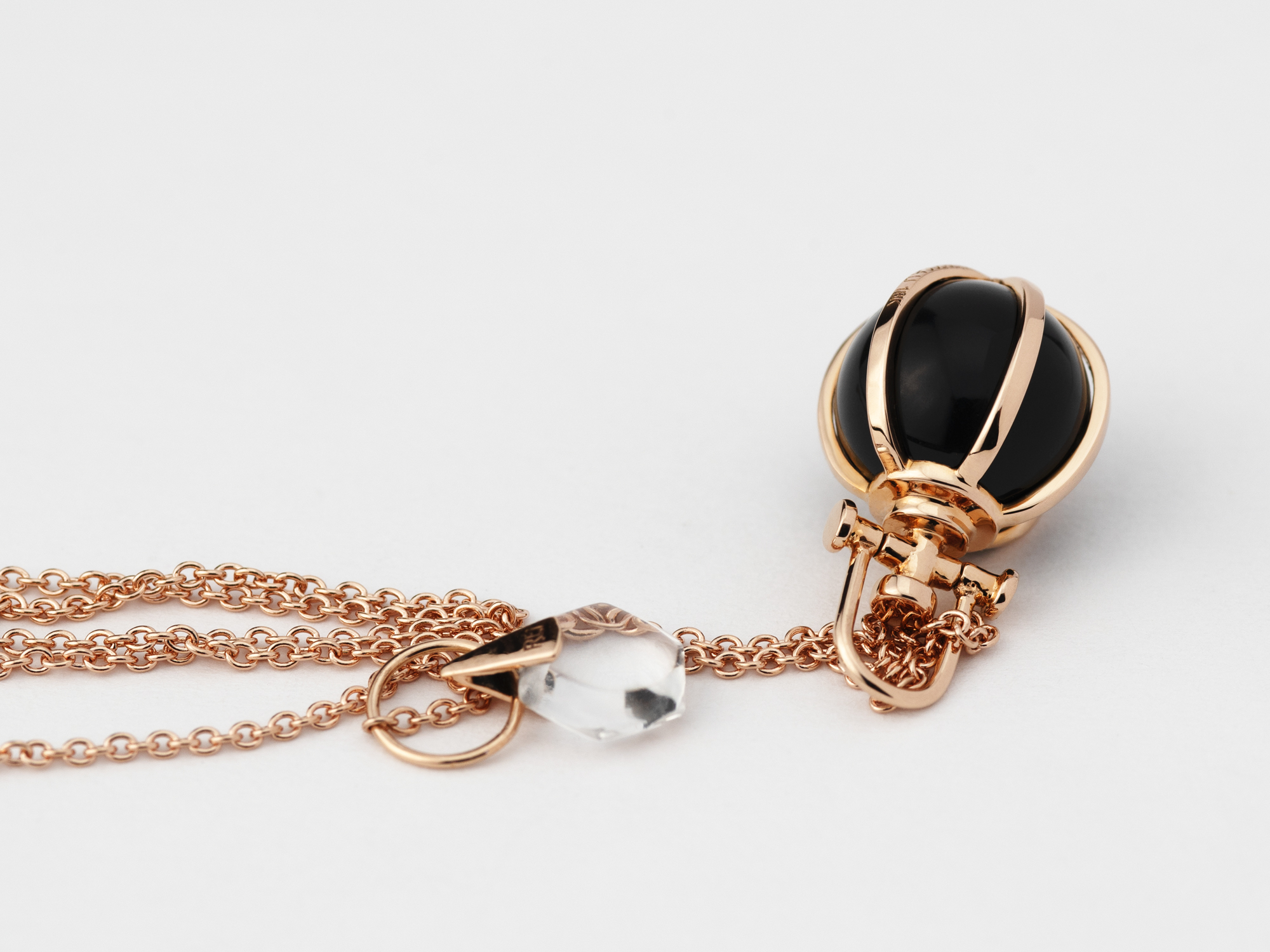 Rebecca Li Mini 18k Rose Gold Crystal Orb Talisman Pendant Necklace with Black Oynx