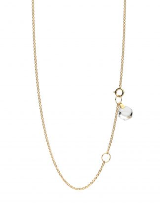 """Rebecca Li Crystal Link Dainty 18k Solid Yellow Gold Necklace Chain, 18"""", with Rock Crystal"""