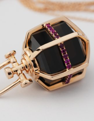 Rebecca Li Signature 18k Rose Gold Six Senses Talisman Pendant with Ruby and Smoky Quartz, Medium