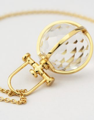 Small 18k Gold Faceted Crystal Orb Talisman Pendant with Rock Crystal, Rebecca Li