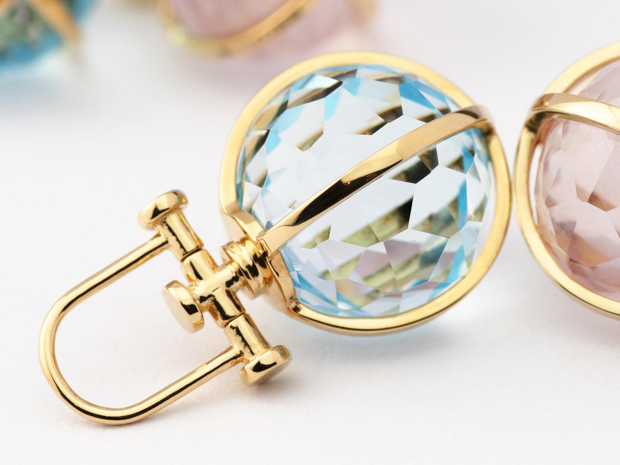 Rebecca Li Medium Crystal Orb Talisman Pendant, 18k Solid Yellow Gold, Natural Blue Topaz