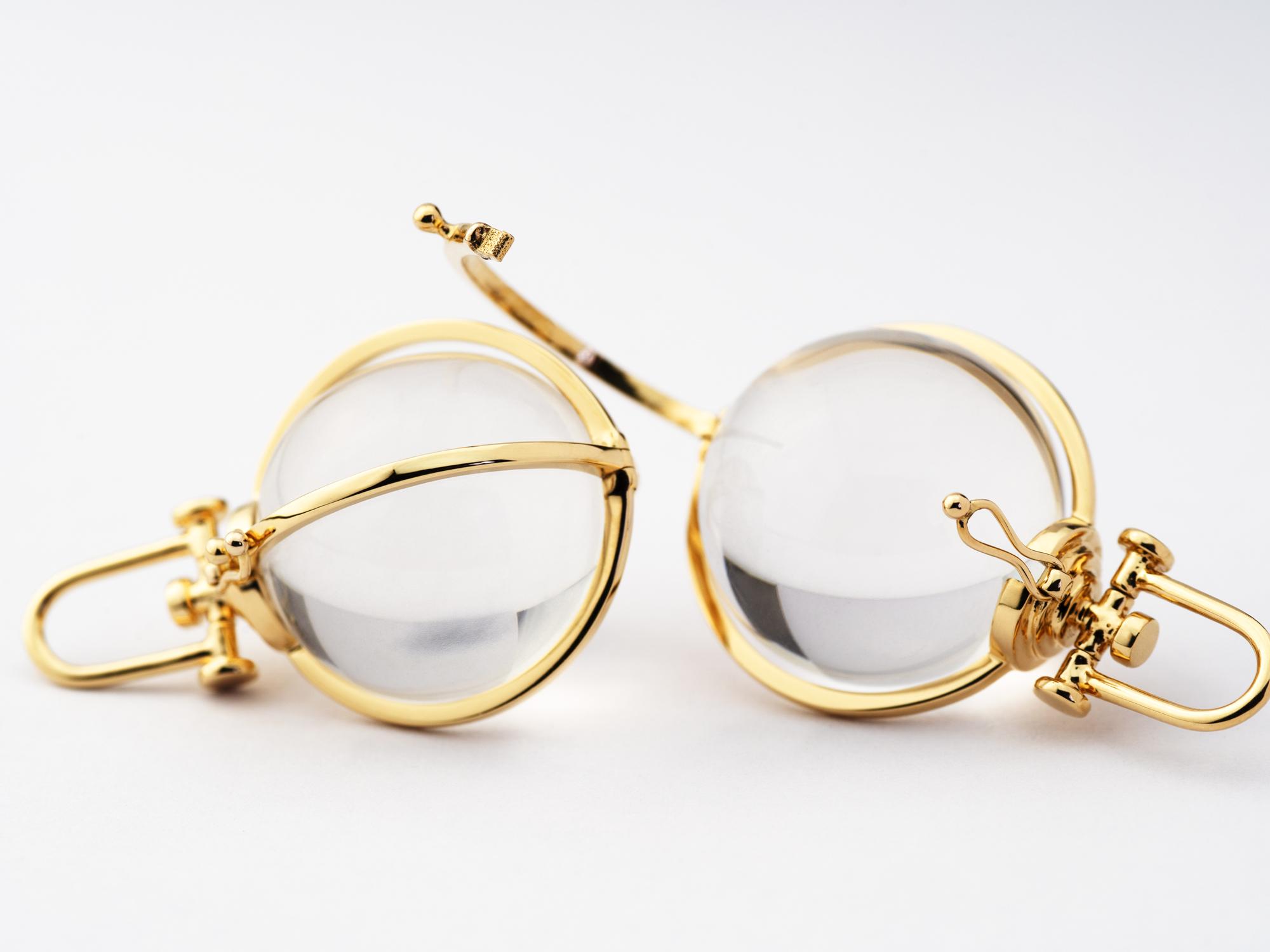 Rebecca Li Signature Crystal Orb Talisman Pendant Necklace, Large, 18k Solid Yellow Gold, Natural Rock Crystal