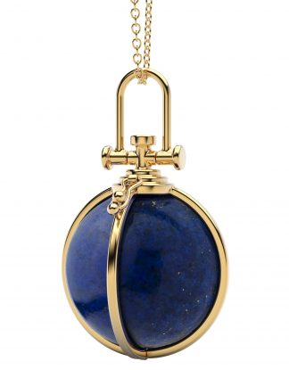 Rebecca Li Large Open Cage Crystal Orb Talisman Pendant with Natural Lapis Lazuli, Healing stone, 18k Solid Yellow Gold