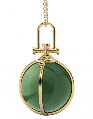 Rebecca Li Large Open Cage Crystal Orb Talisman Pendant with Natural Aventurine, Healing stone, 18k Solid Yellow Gold