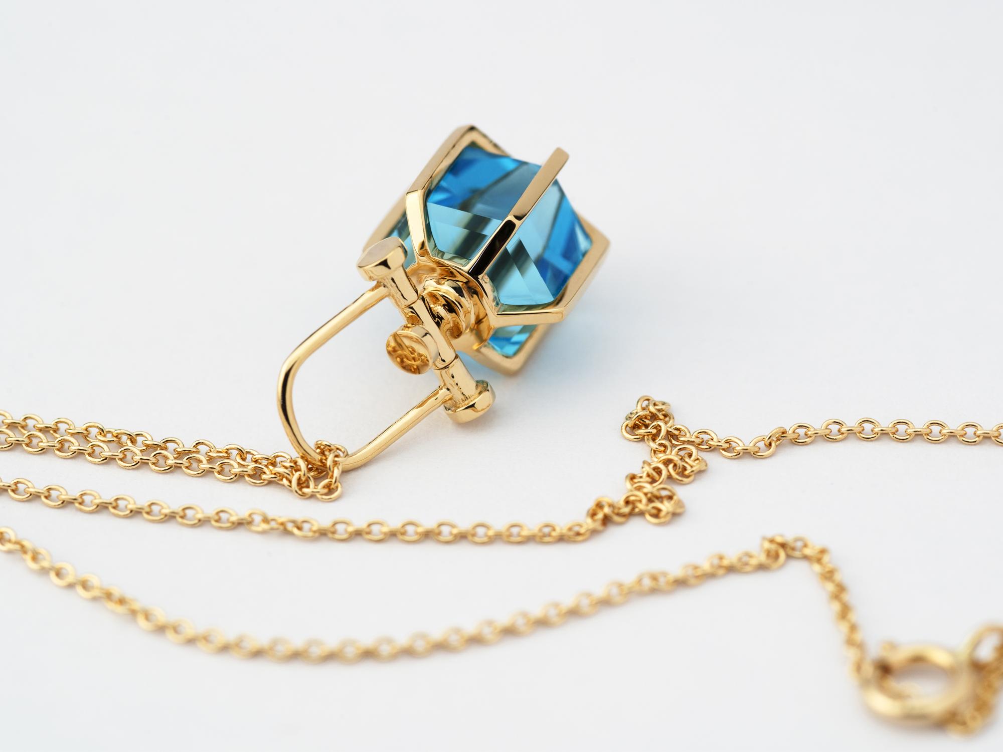Mini Six Senses Talisman Pendant Necklace, 18k yellow gold with Swiss Blue Topaz