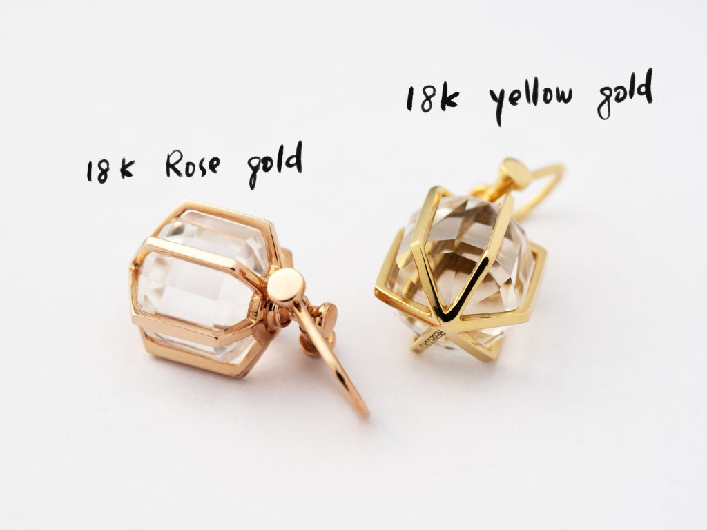 mini Rebecca Li six senses talisman , 18k rose gold and yellow gold comparison, natural rock crystal, 12 sided crystal point