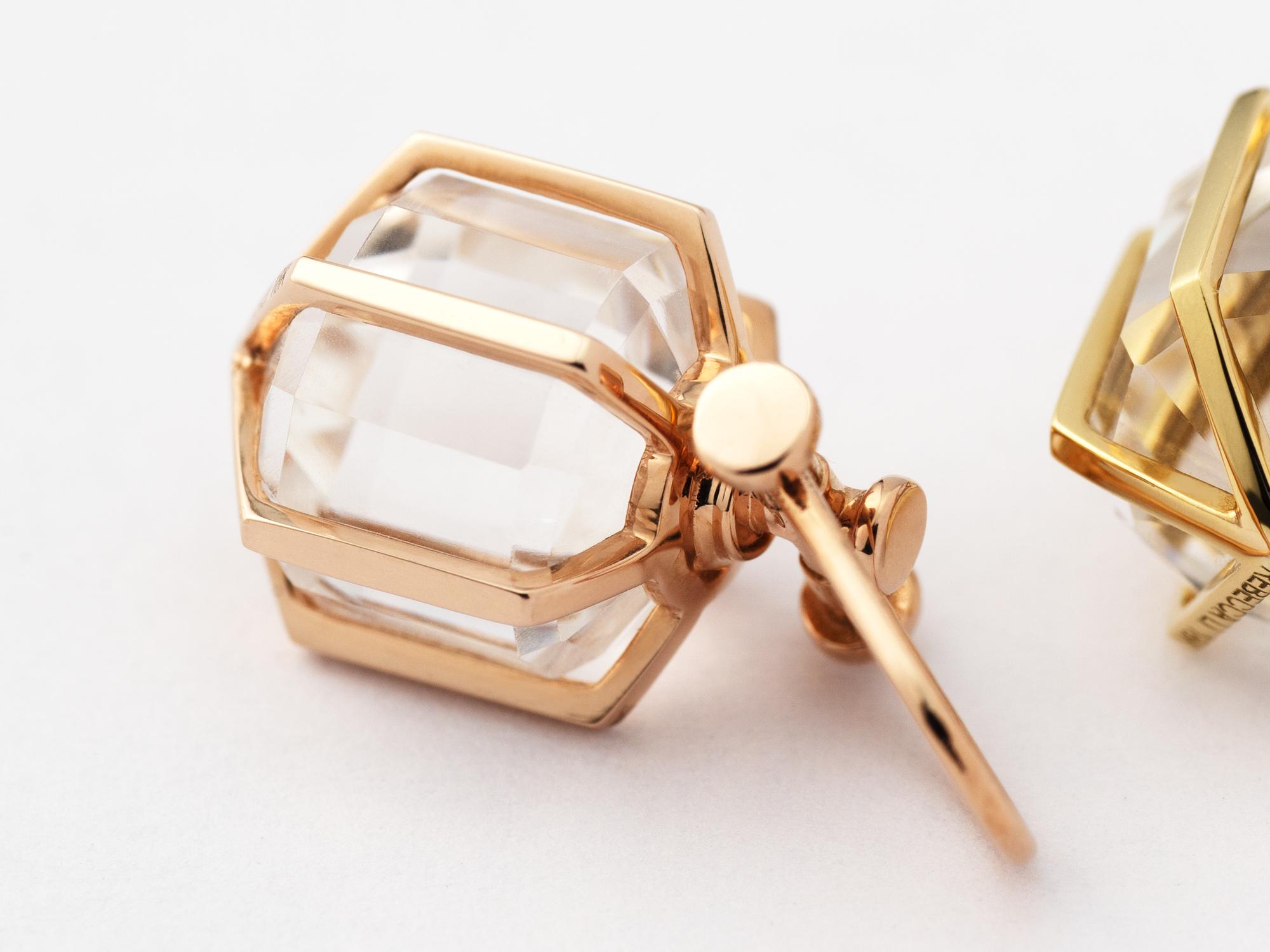 Rebecca Li Mini Six Senses Talisman Pendant Necklace, 18k solid rose gold, natural rock crystal, 12 sided crystal point