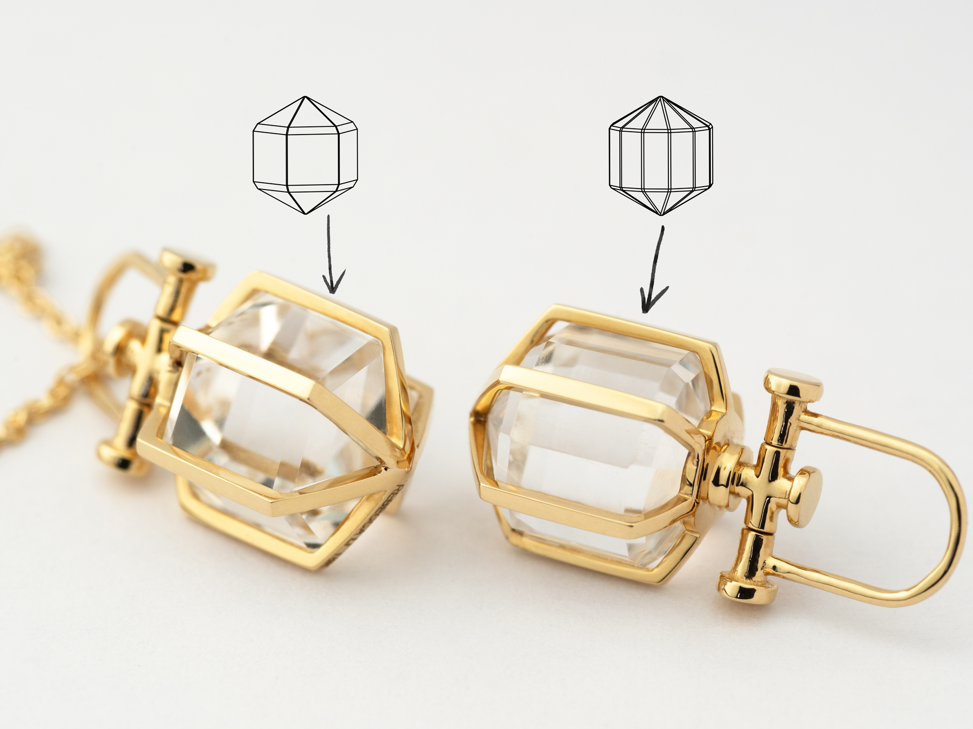 Rebecca Li Mini Six Senses Talisman Pendant Necklace, 18k solid yellow gold, natural rock crystal