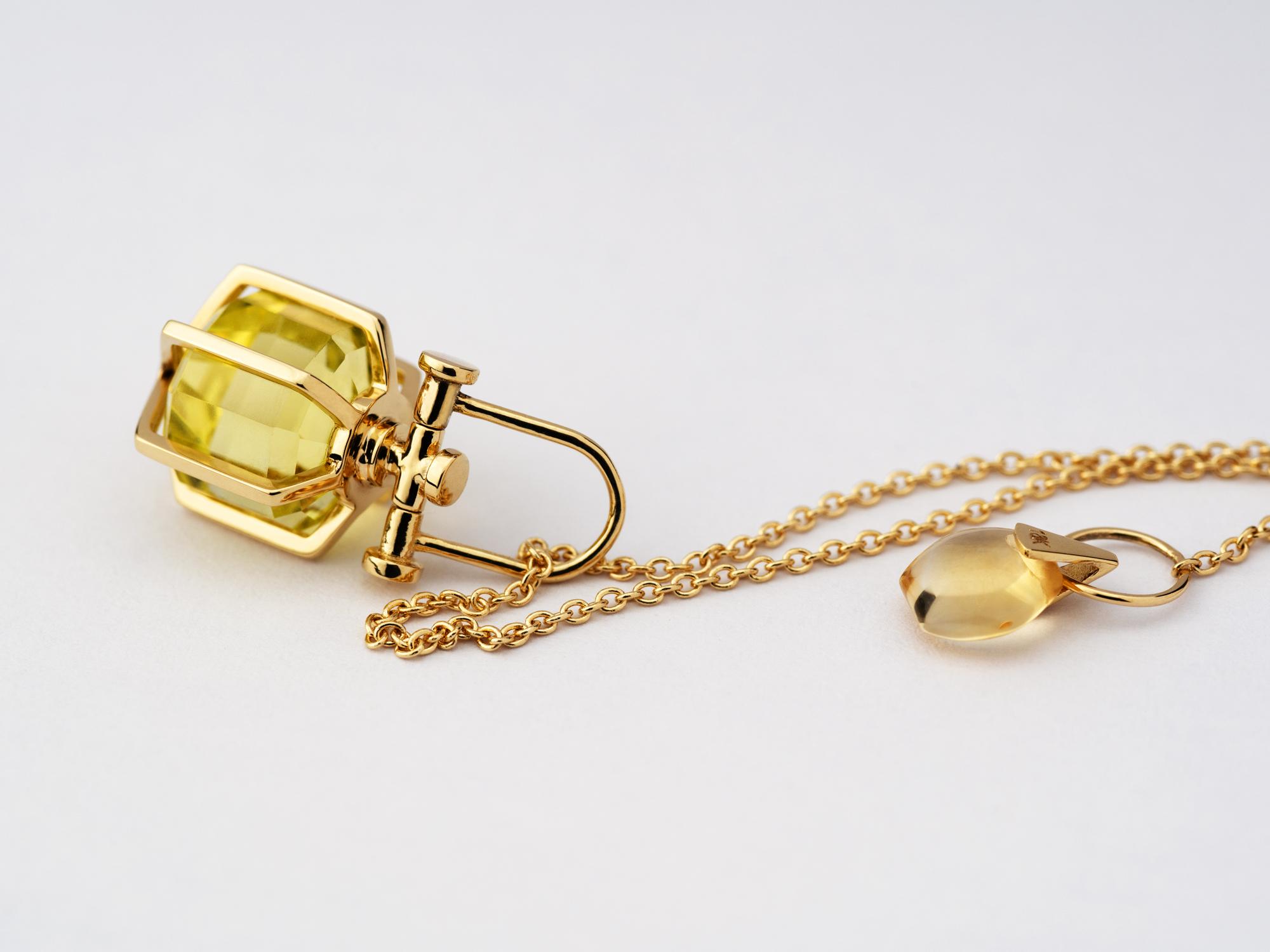 Mini Rebecca Li Six Senses Talisman Pendant Necklace, 18k Solild Yellow Gold, Lemon Citrine, 12 Sided Crystal Point
