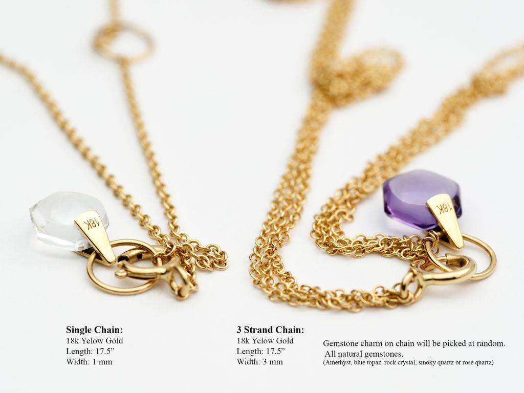 Rebecca Li Signature Crystal Link Chain, Single Chain vs Three Strand Chain, 18k Yellow Gold